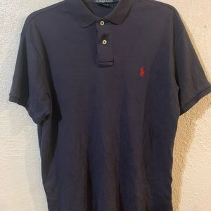 Blue polo with red logo